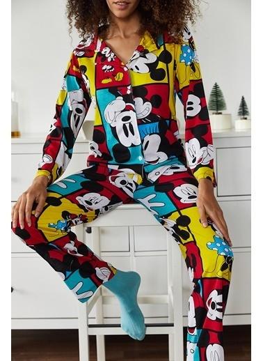 XHAN Hardal Baskılı Pijama Takımı 1Kxk8-44695-37 Hardal